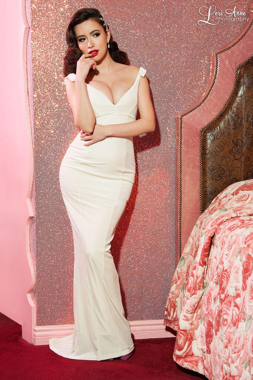The Laura Byrnes Gilda Gown in Ivory Velvet | Christina Serratos ...