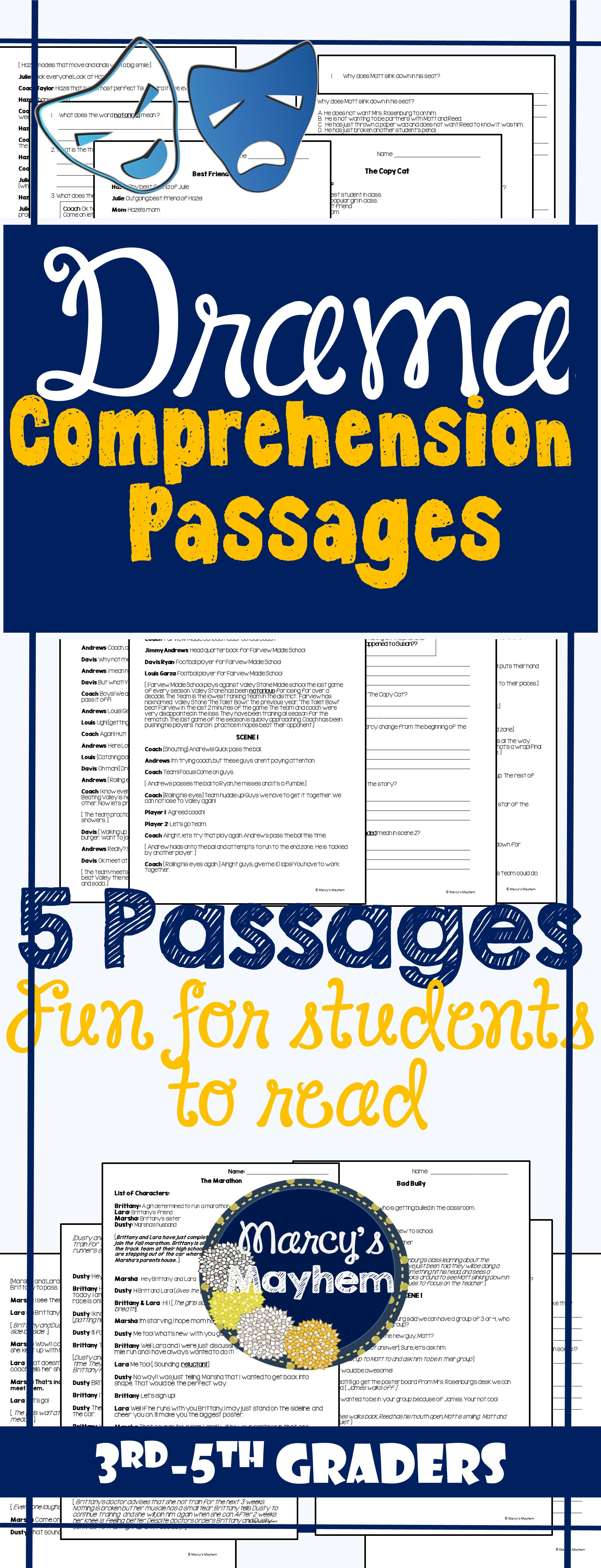 Drama Comprehension Passages Great For Reader S Theater