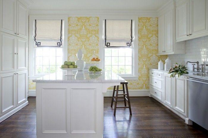 70 Ideen Fur Wandgestaltung Beispiele Wie Sie Den Raum Aufwerten Kuchen Inspiration Gelbe Kuche Tapete Kuche
