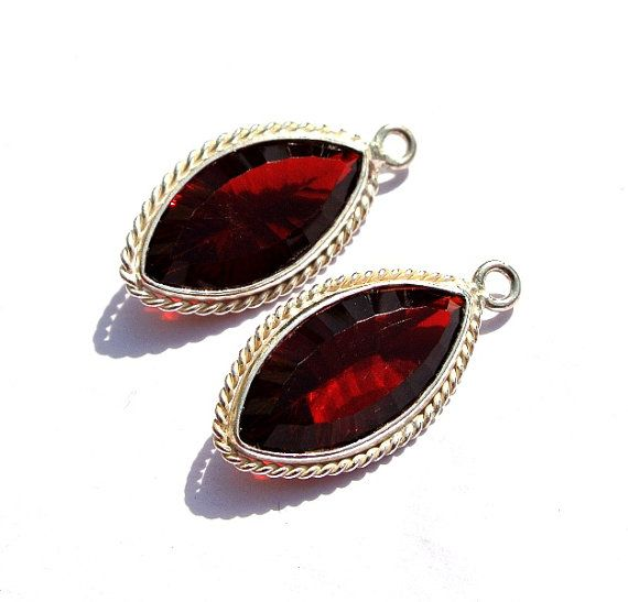 925 Silver Plated Red Garnet Concave Cut by RareGemsNJewels