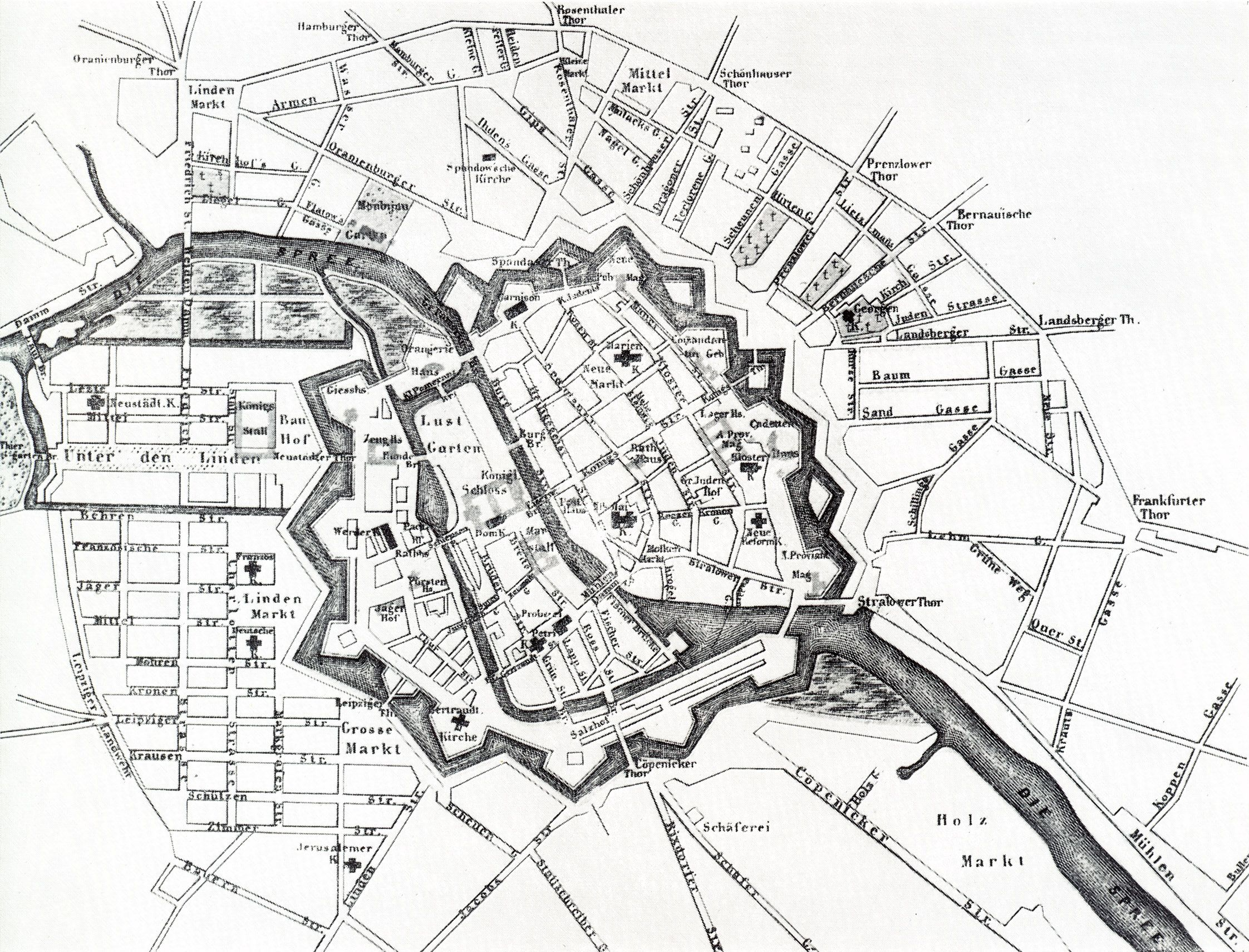 Berlin A Map Of 1737 The Fortified Medieval City Has Been Extended By Two Planned Suburbs Dorotheenstadt Immediately To The South Of T Berlin Map Antique Maps