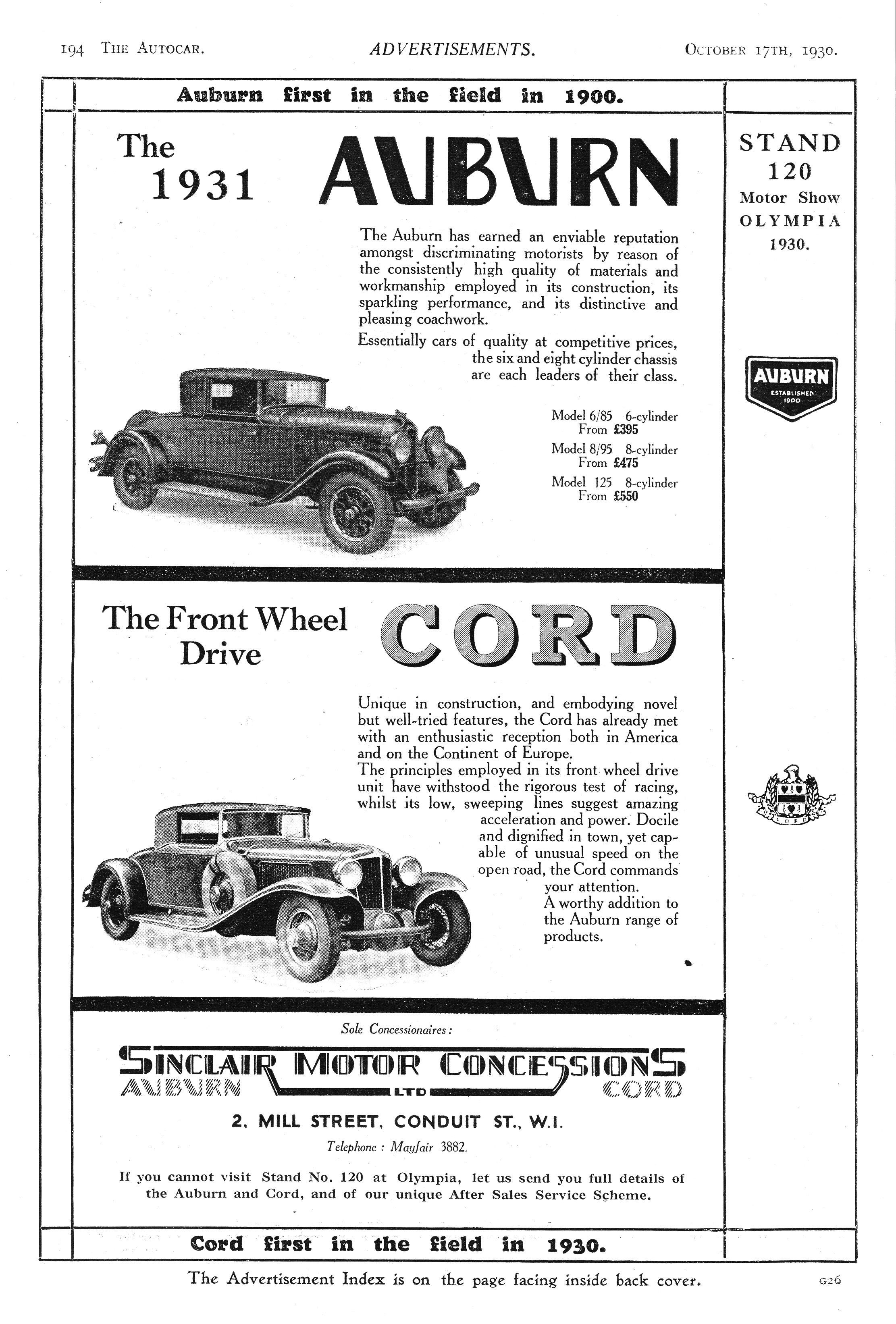 Auburn Car Autocar Advert