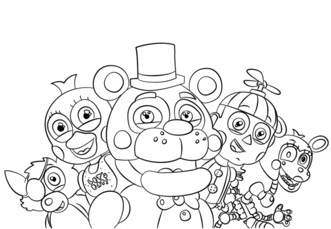 graphic relating to Free Printable Five Nights at Freddy's Coloring Pages called 5 Evenings at Freddys All Figures Coloring web site
