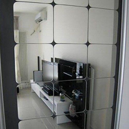 Fenta 6pcs Set Self Adhesive Square Mirror Tile Wall Stic Https