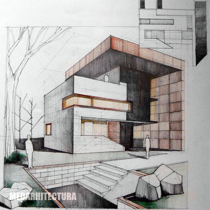 Colored pencil architectural rendering google search for Architecture modern house design 2 point perspective view