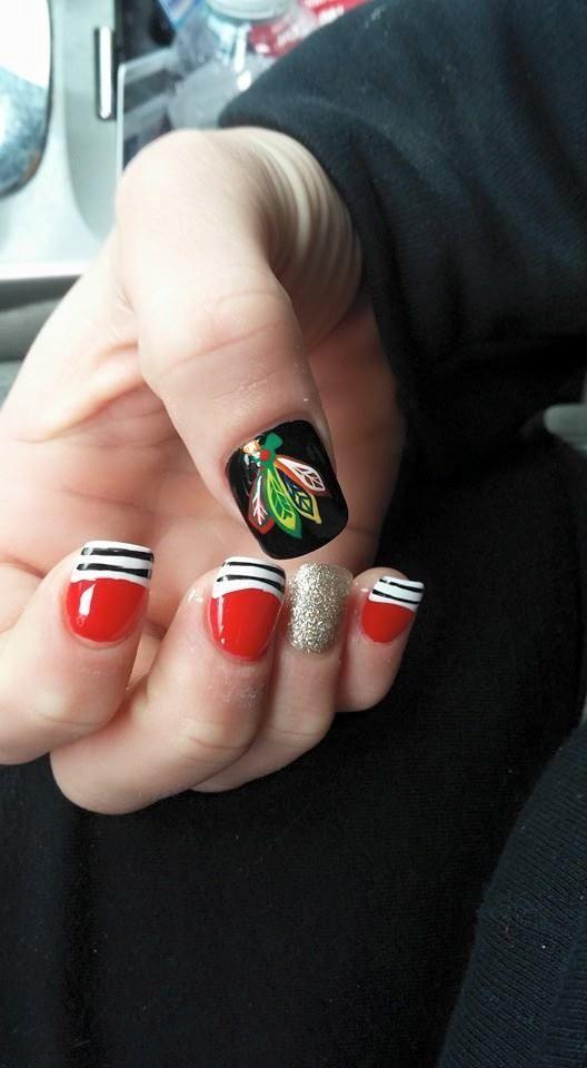 Blackhawks nail art! | Blackhawks Style | Pinterest | Asas