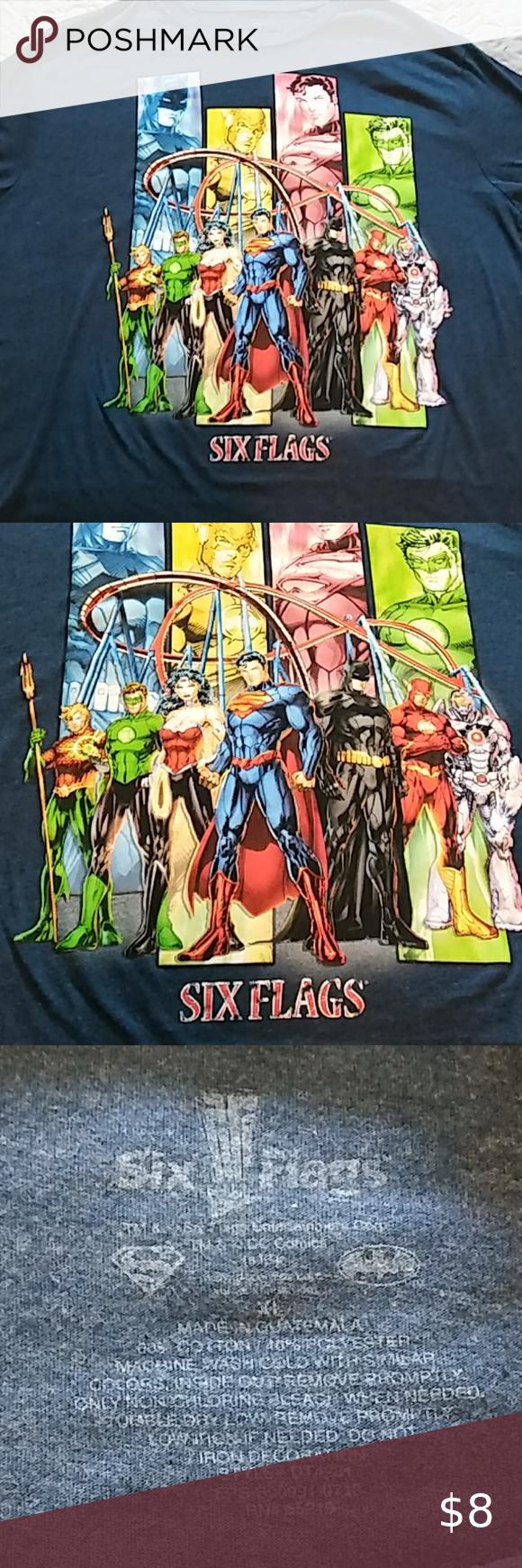 Six Flags Dc Comics Shirt Length 29 5 Width 23 Six Flags Shirts Tops Tees Short Sleeve In 2020 Dc Comics Shirts Dc Comics Dc Characters