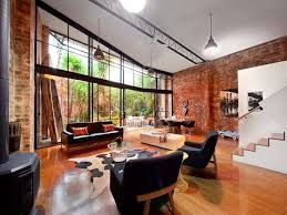 exposed red brick in the living room