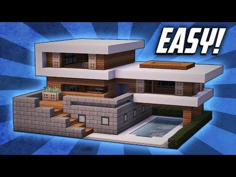 Minecraft How To Build A Large Modern House Tutorial 19 Youtube Minecraft Modern Minecraft House Tutorials Modern Minecraft Houses