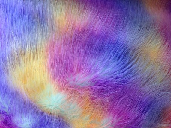 Faux Fake Fur Versicolor Jumble 62 Inch Wide Fabric by The Yard Blue Purple Yellow F.E.