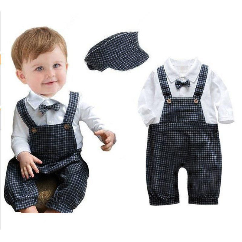 5afba429b ZOETOPKID Baby Boy Romper Brand Plaid Tie Strap Romper + Hat 2pcs Spring Newborn  Baby Boys Clothes For 3-9M Infant Costume. Yesterday's price: US $15.99 ...