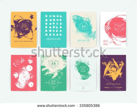 Set of vector greeting cards with geometric heads of monkey on hand-drawn background / chinese symbol of new year/ christmas /  line hipster logotype.  - stock vector