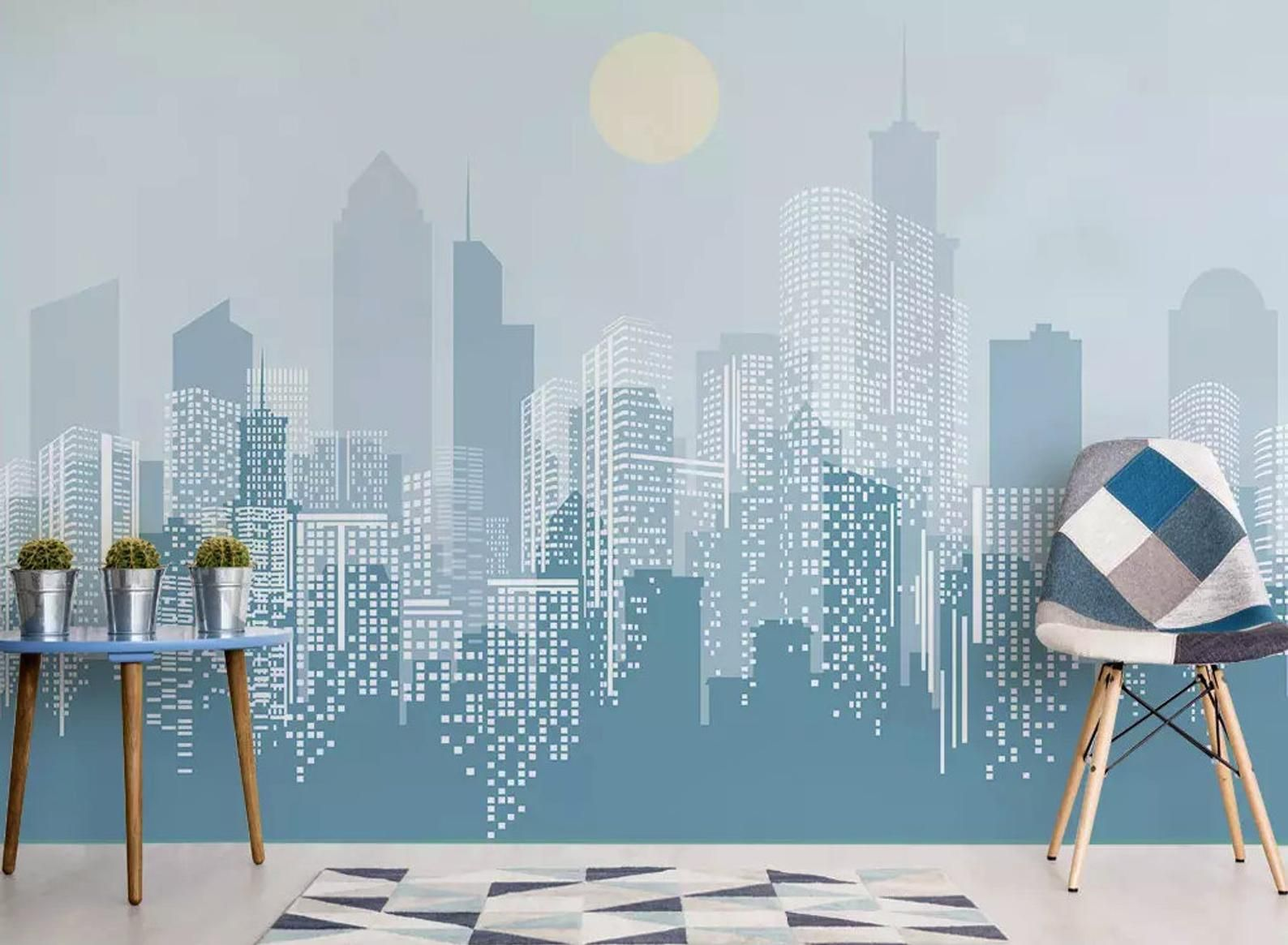 Monochrome City Wallpaper Cityscape Wall Mural Landscape Wall