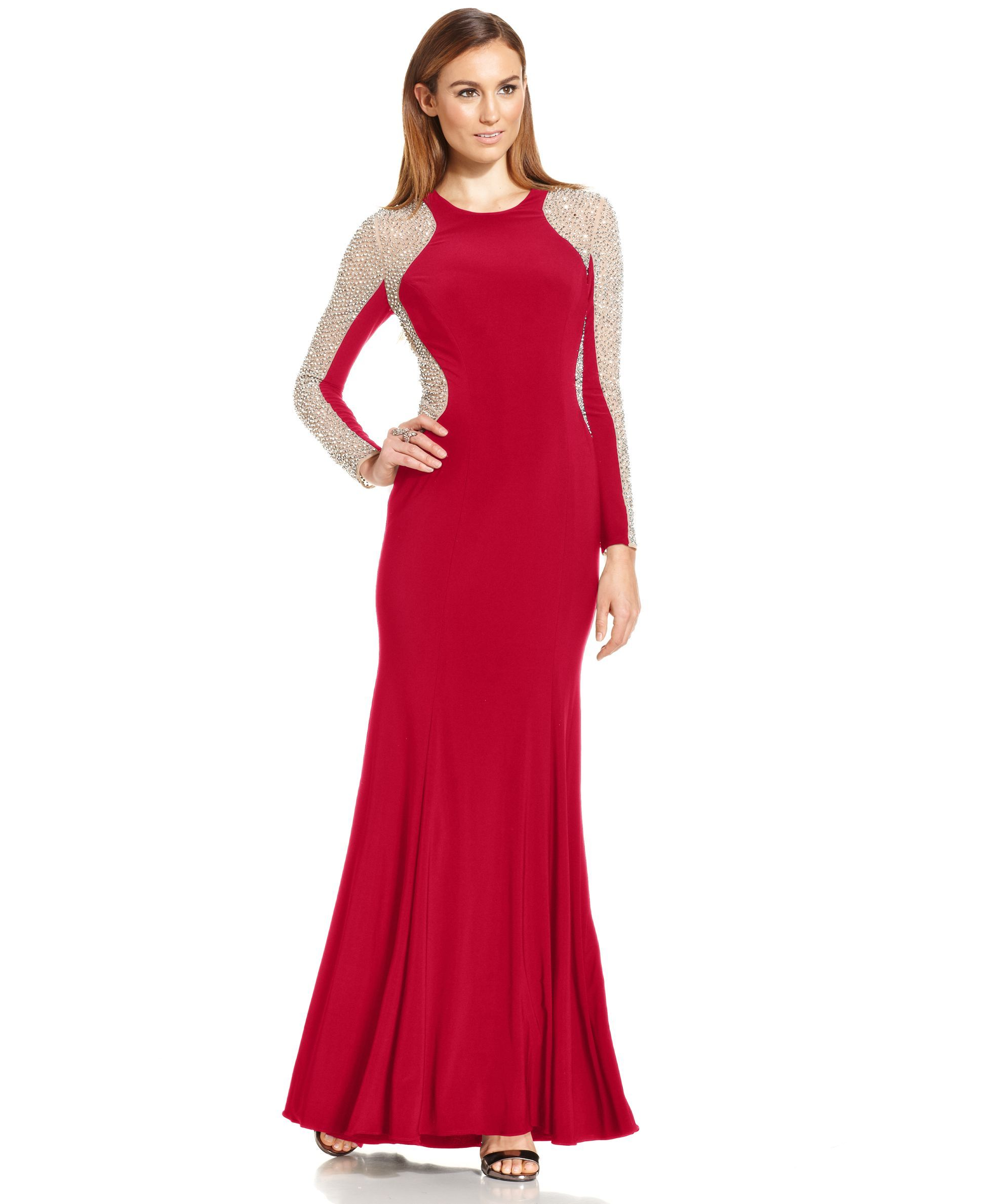 Studded Long Red Prom Dresses