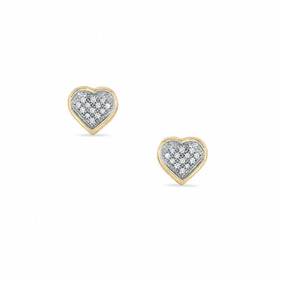 5994b5175ed10 Diamond Accent Pavé Heart Stud Earrings in 10K Gold   Products ...