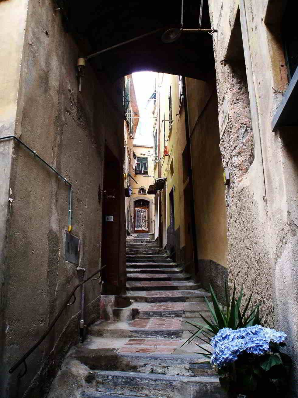 Winding passageways hidden in the side streets of Vernazza, Italy
