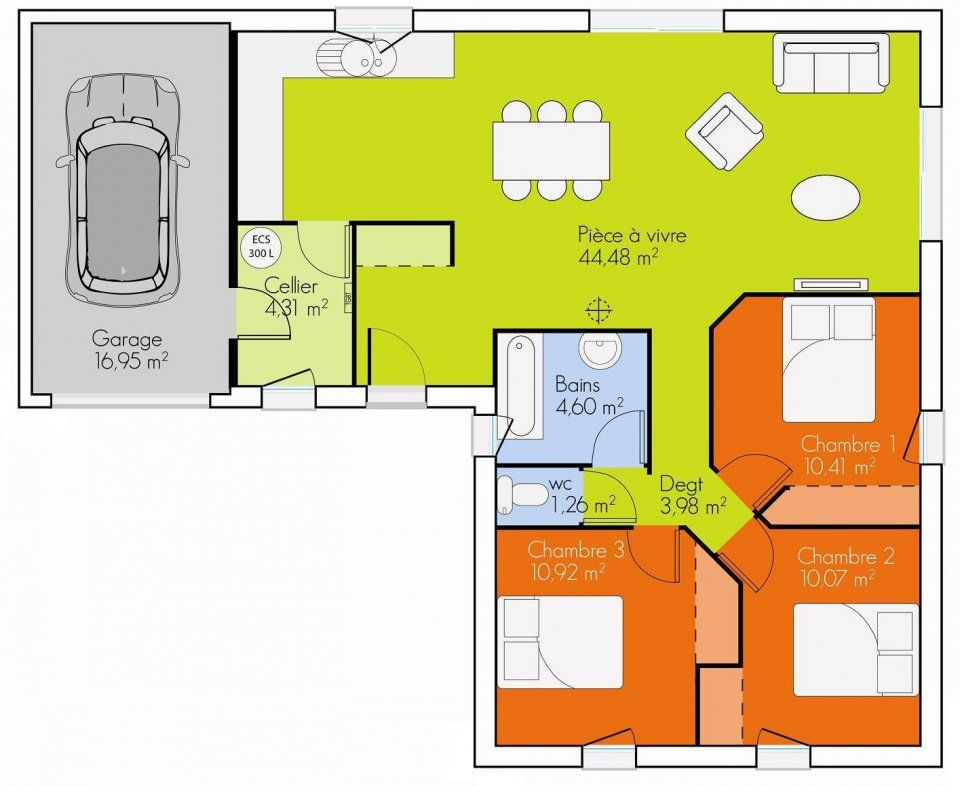 Résultat De Recherche Dimages Pour Plan Maison Plain Pied - Plan maison plain pied 90m2