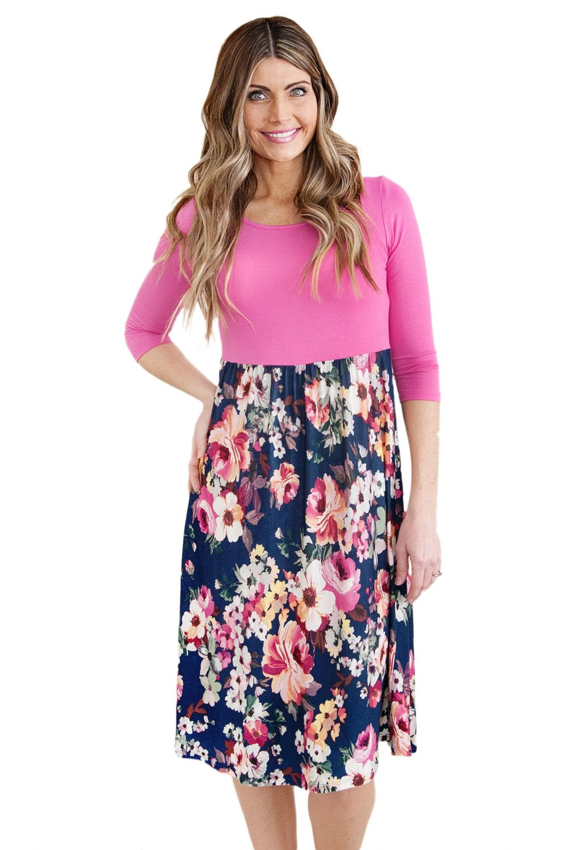 Rosy Bodice 3/4 Sleeve Floral Bottom Boho Dress