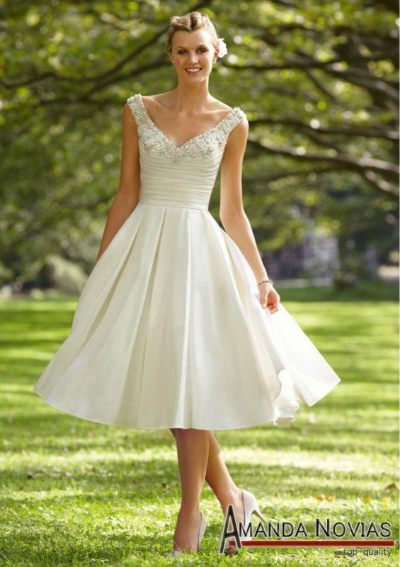 Elegant Cream Color Tea Length Wedding Dresses With Strap Mrilee 04 View Amanda Novias Product Detai