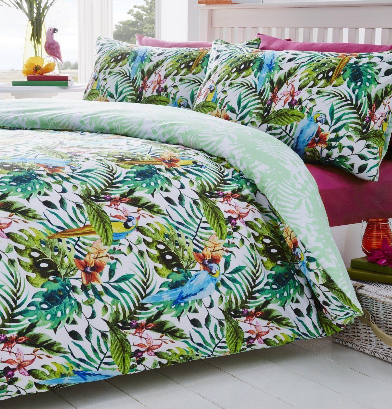 Tropical Jungle Birds Reversible Print Quilt Duvet Cover Bedding Set