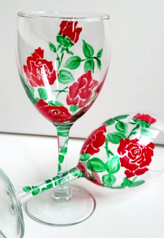 Hand Painted Red Rose Wine Glasses set of 2 Color by PritzDesigns