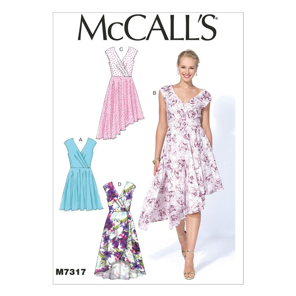 McCall\'s 7317 Sewing Pattern - Misses\' Pleated Surplice Dress | DIY ...