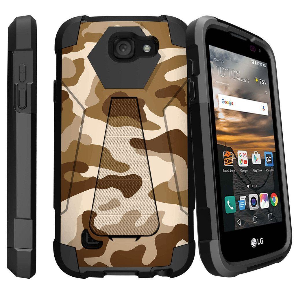 LG K3, LS450 Slim Case, SHOCK FUSION Slim Fitted Heavy Duty Kickstand Case - Army Camo