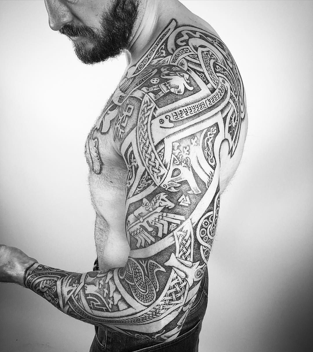 another angle of the sleeve of ragnarok by seanparryart black and gray tattoos pinterest. Black Bedroom Furniture Sets. Home Design Ideas