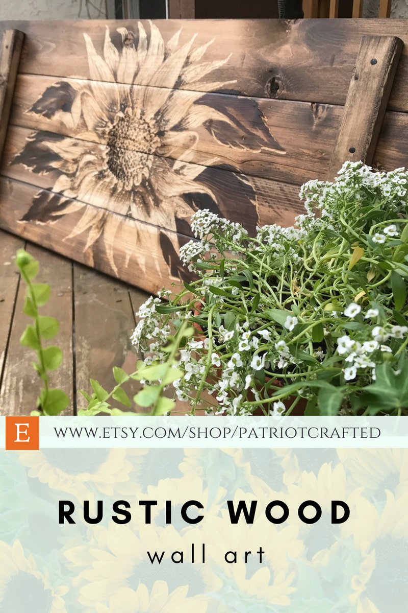 Sunflower rustic wood wall art sunflowers bedroom decor carved