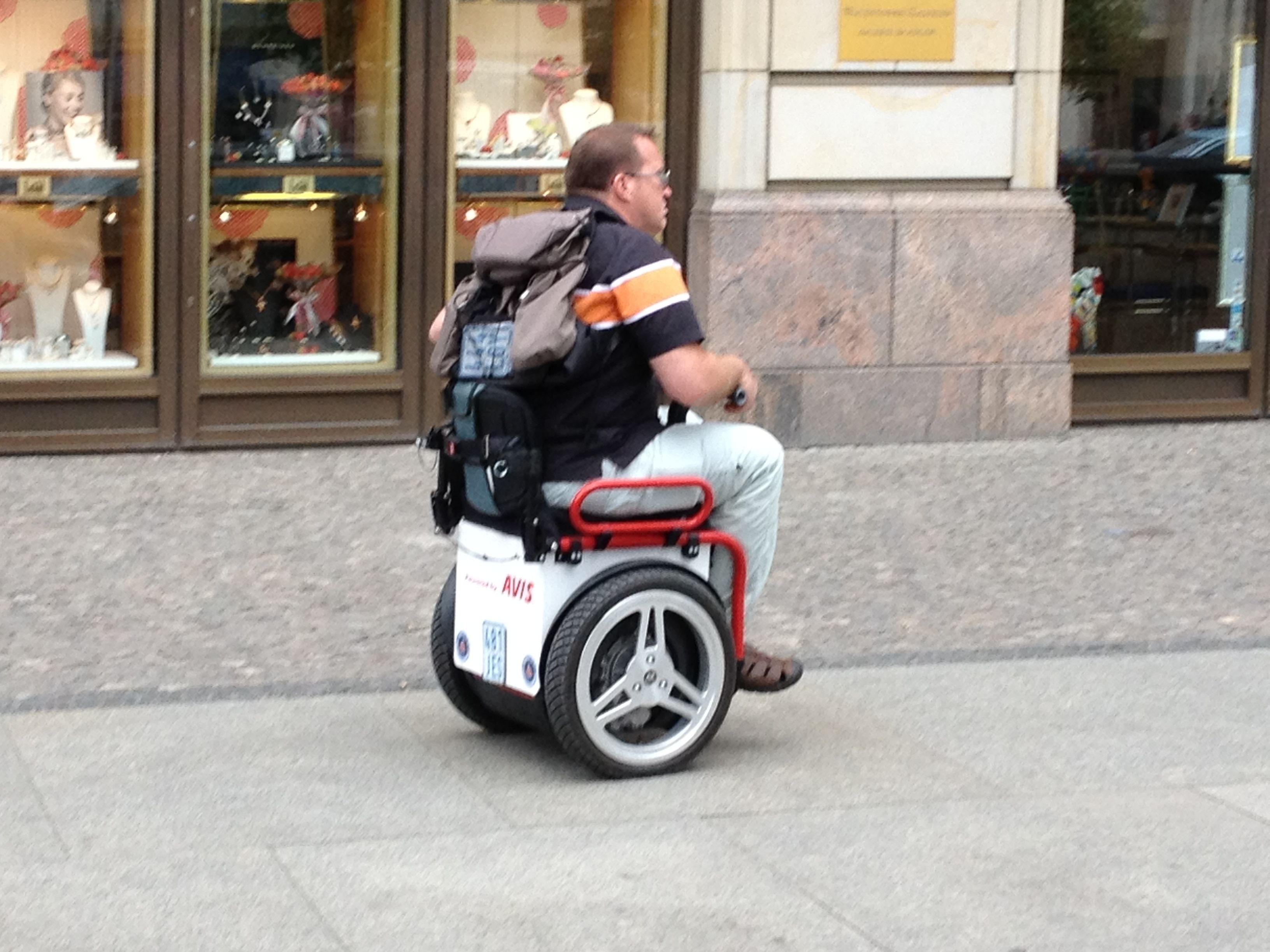Berlin has some pretty cool wheelchairs. This one has a Segway ...