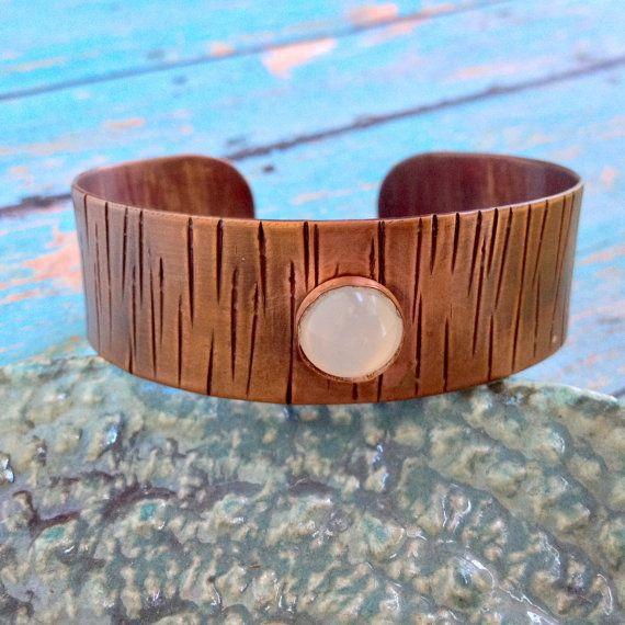 Copper Cuff Bracelet, Copper and White Glass Cuff,Textured Copper Bracelet, Solid Copper Bracelet, Pure Copper, 100% Copper, Red Fern Studio