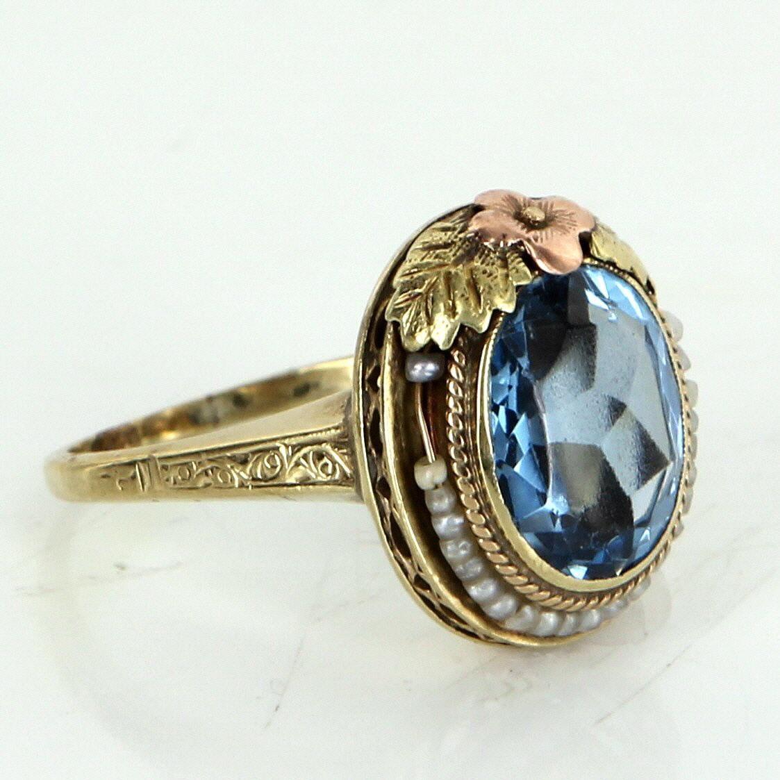 Blue Topaz Seed Pearl Ring Antique Deco Filigree Flower 14 Karat