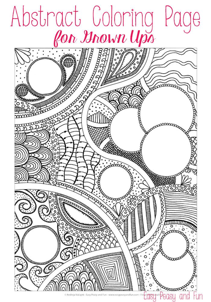 Free Abstract Coloring Page for Adults | Easy peasy, Easy and Free