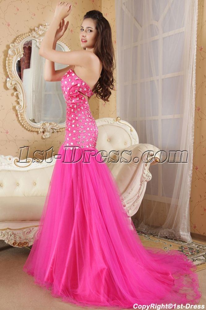 1st-dress.com Offers High Quality Pretty Beaded Fuchsia Mermaid Prom ...