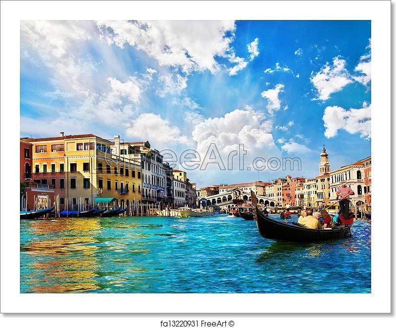 """""""Venice grand canal with gondolas and rialto bridge, italy in summer bright day"""" - Art Print from FreeArt.com"""