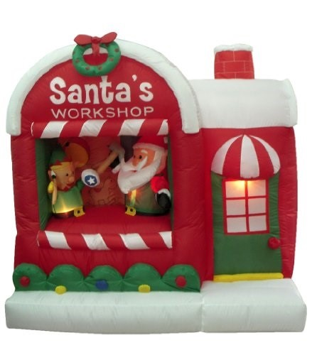 5 Foot Christmas Inflatable Santa Claus Workshop Yard Decoration in