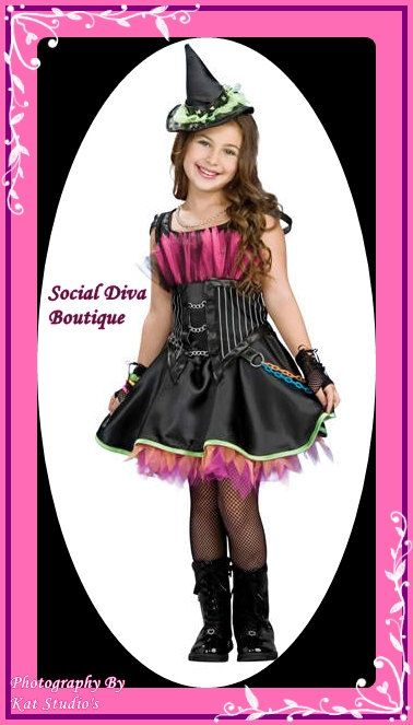 rock diva witch halloween costume with bustier tiered skirt and matching hat size 810