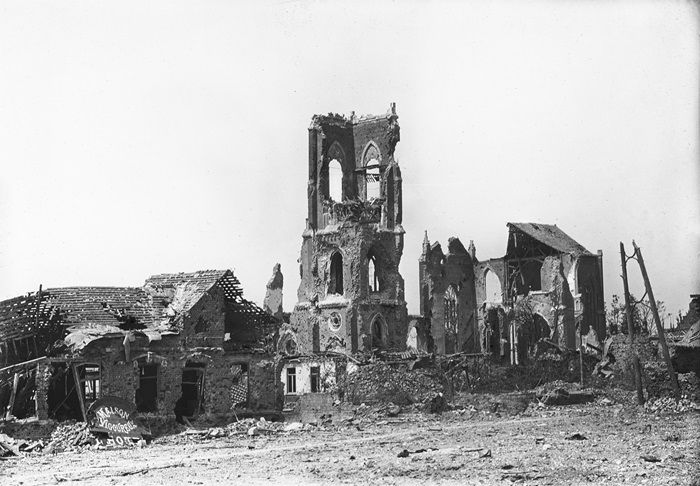 Image result for ruined church in great war