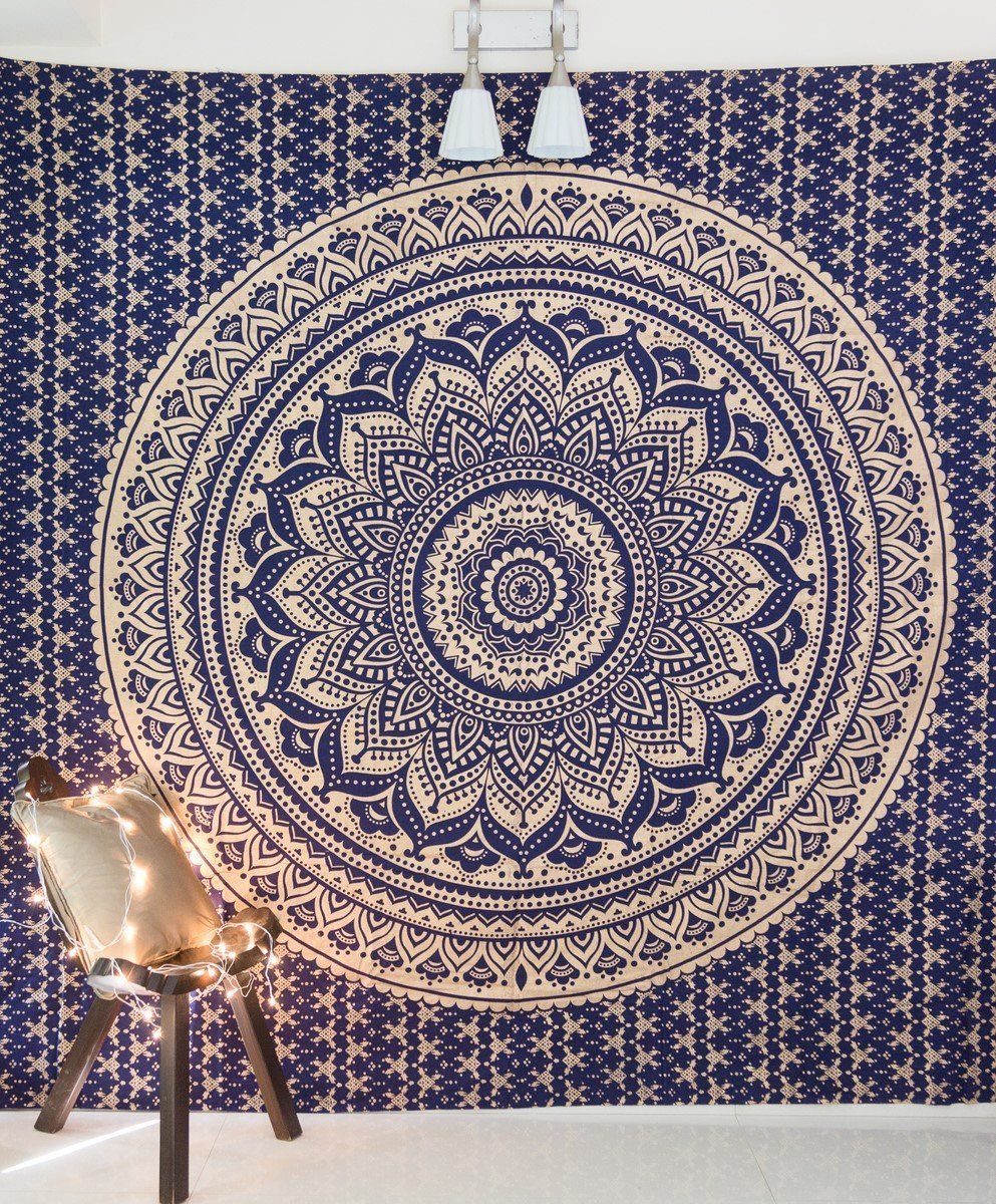Amazon Com Folkulture Mandala Tapestry Hippie Wall Hanging Indian Ombre Bohemian Mandala Mandala Tapestries Wall Hangings Mandala Tapestry Dorm Room Wall Art