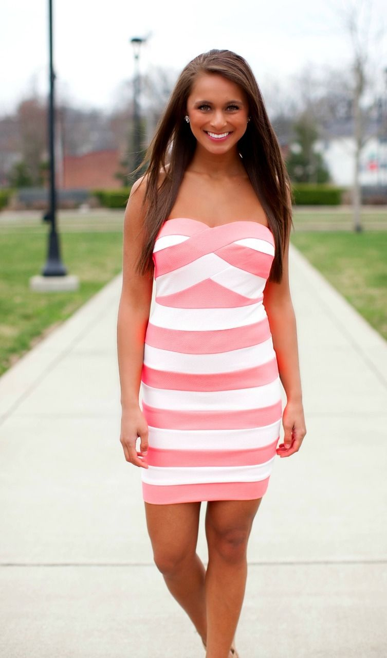 The Pink Lily Boutique - Someone Like You Neon Coral Striped Dress ...
