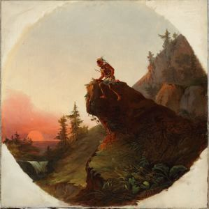 Jesse Talbot (1806-1879), Indian Hunter, c. 1840s, Oil on canvas, 19 ½ inches diameter – tondo, Bequest of Richard M. Scaife, 2015.92
