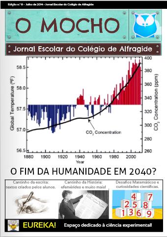 """Jornal Escolar Digital """"O Mocho"""" NÚMERO 8: O FIM DA HUMANIDADE EM 2040?  Leia a edição deste mês em http://bit.ly/1vBBdjq  #colegiodealfragide #amadora #portugal #jornalomocho"""