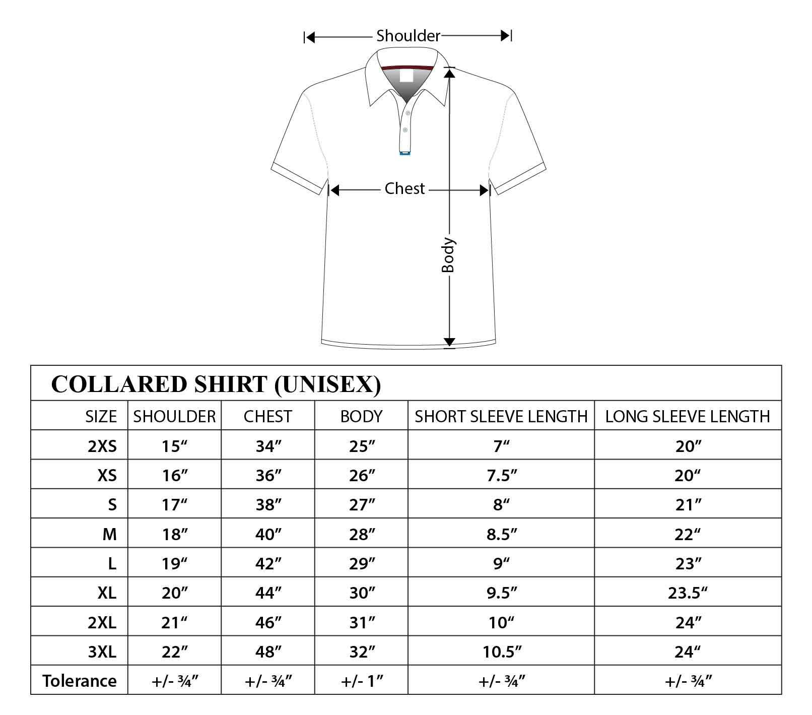 Image result for mens polo t shirt measurement chart