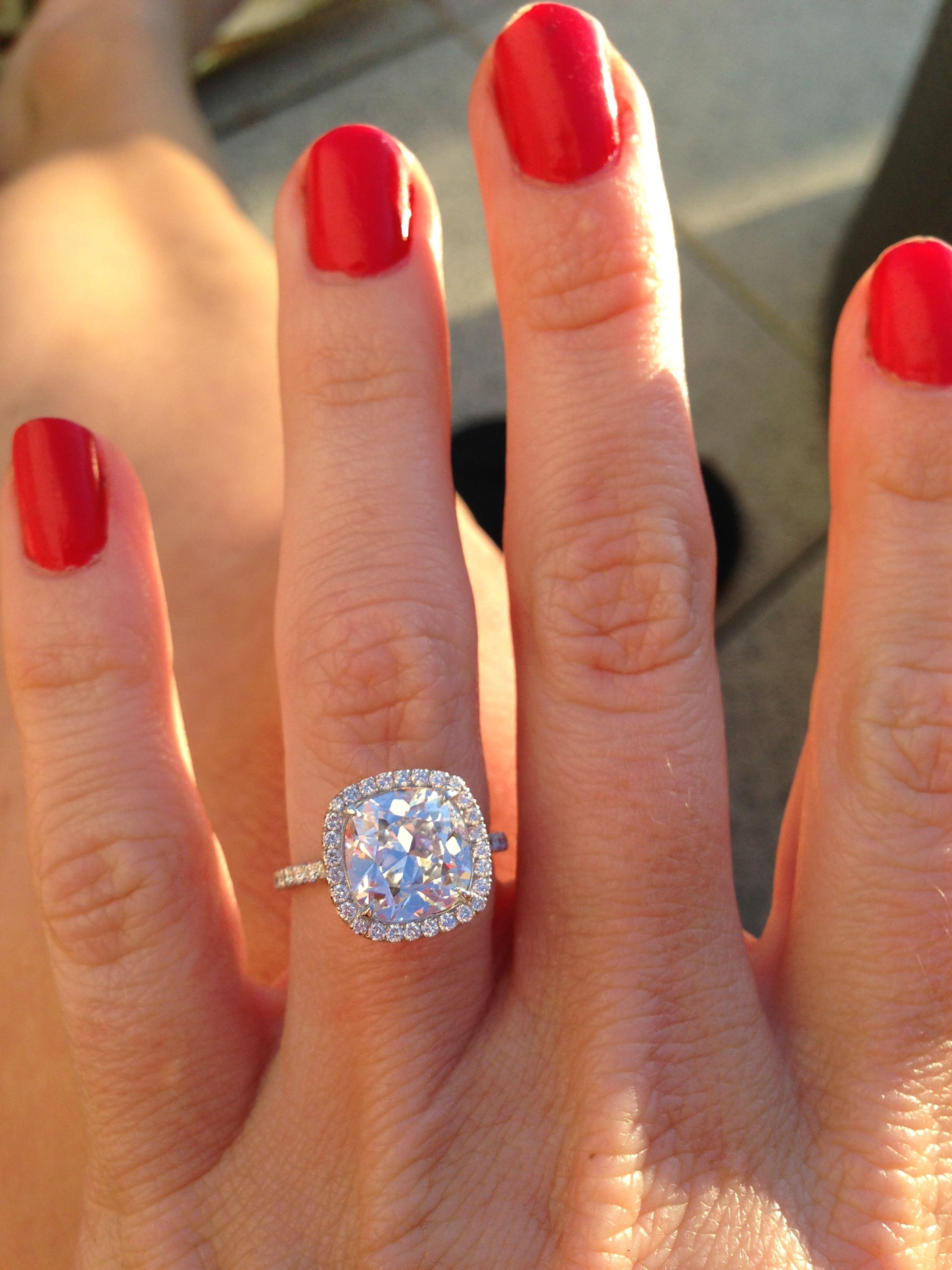 Cushion Cut Diamond! Halo Setting! Love This A Bit Too Big But Love Engagement  Rings Cushiondream Engagement Rings3 Carat Engagement