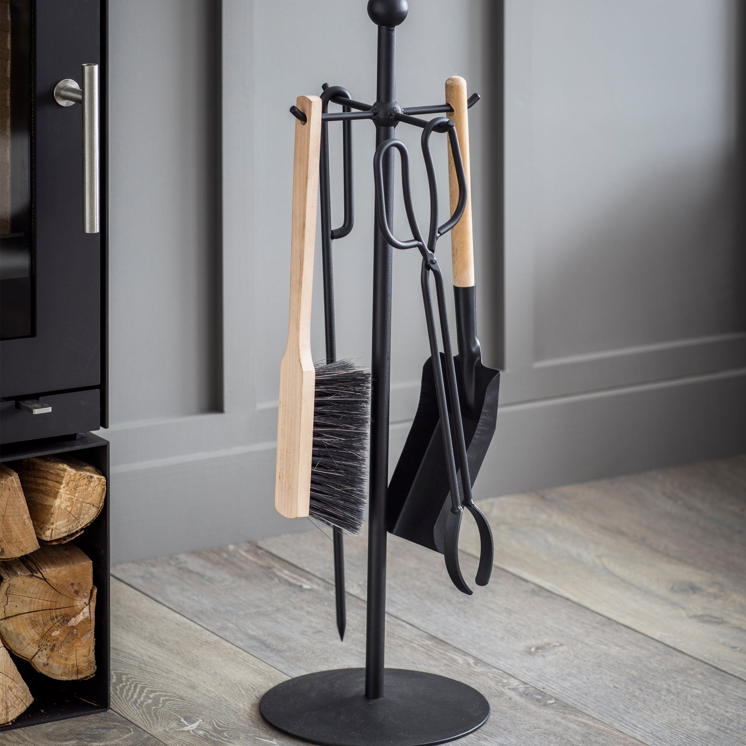 Smart And Practical The Jutland Fireside Tool Set Mixes Colours And Materials To Offer A Simple Touch Of S Fireplace Accessories Wood Burner Modern Log Burners