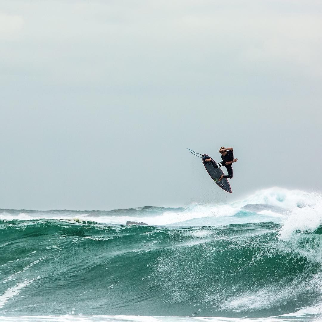 This is the feeling of freedom. Surfing at big wave.
