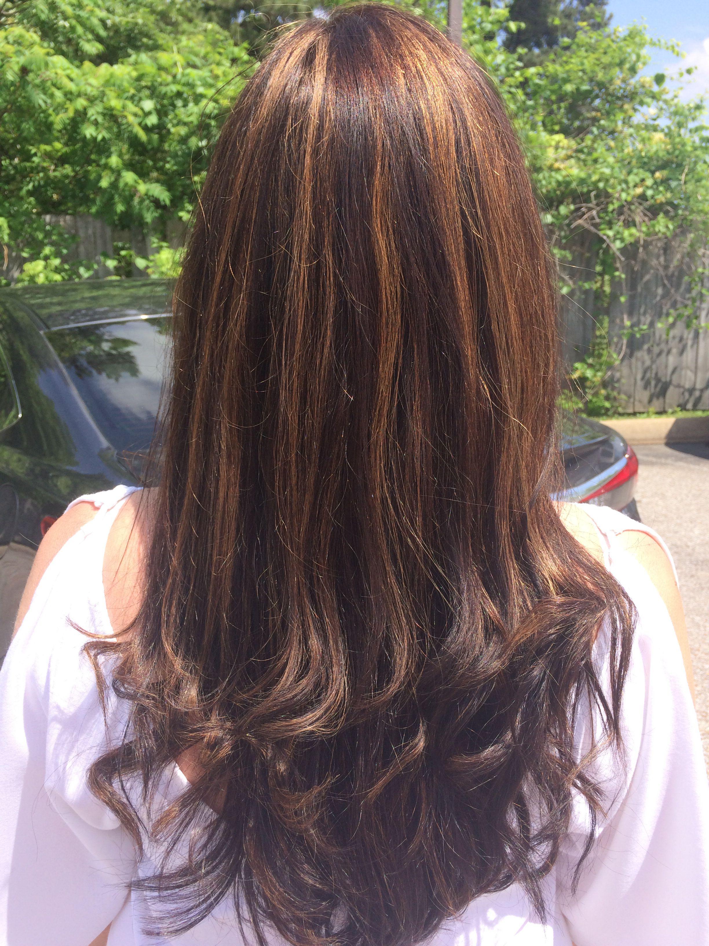 Chocolate Brown Hair Color With Sliced Carmel Highlights Hair