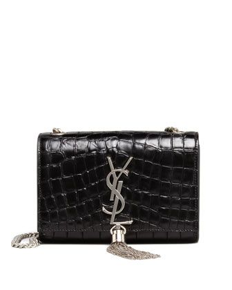 baeccf48637 Monogram Small Croc-Print Crossbody Black | bags | Crossbody bag ...
