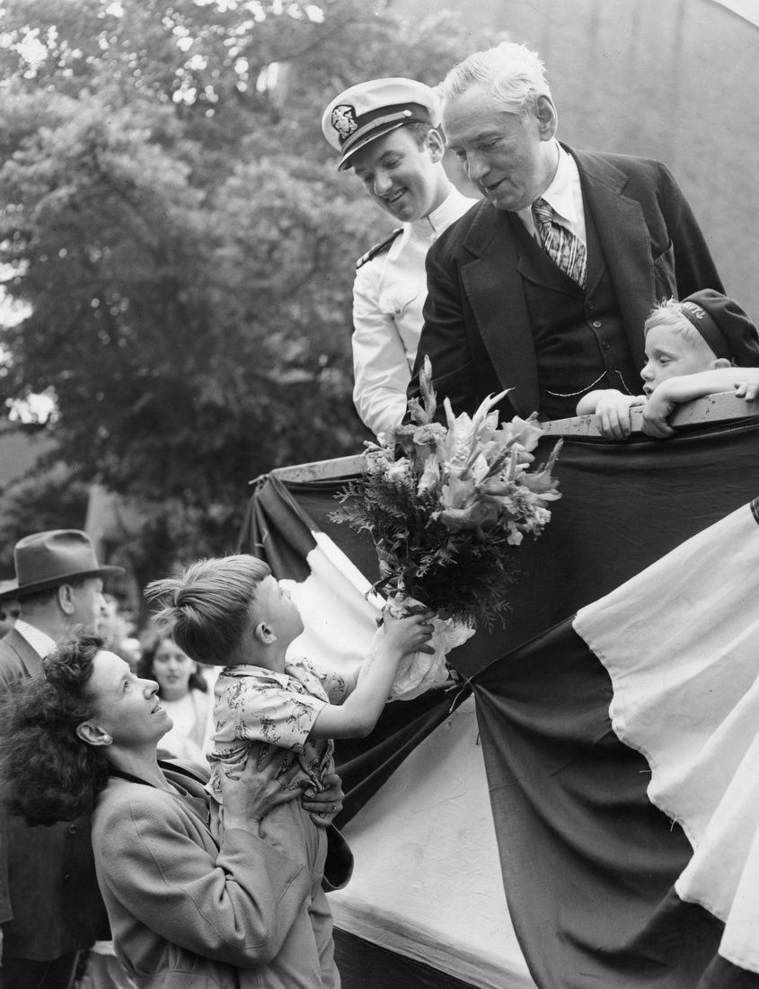Boston Mayor Curley Receives Flowers From A Supporter