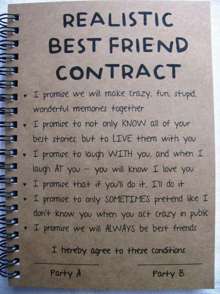 ReALiStiC Best Friend Contract - 5 x 7 journal | diy | Pinterest ...